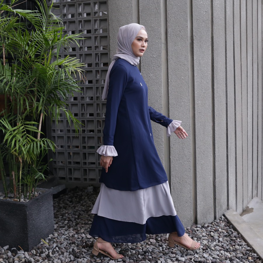 Rasyi Pigeon Blue Dress