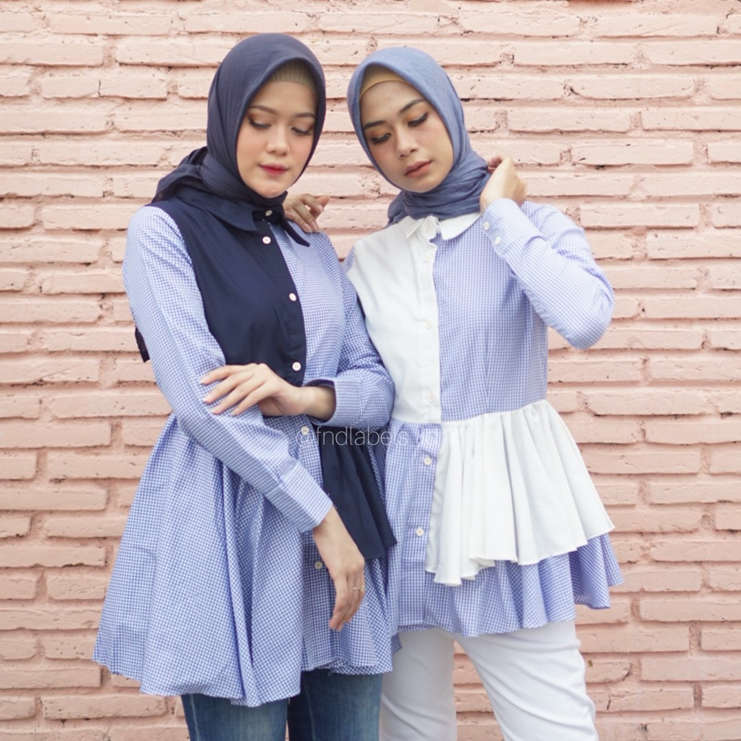 Roxie top gingham blue